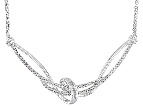 Photo of 0.25ctw Round And Baguette White Diamond Rhodium Over Sterling Silver Necklace - Size 17