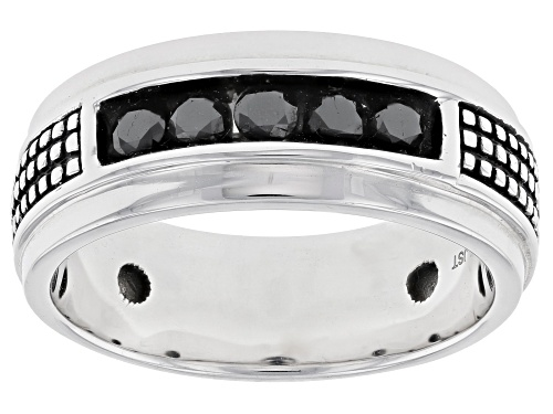 Photo of 0.50ctw Round Black Diamond Rhodium Over Sterling Silver Mens Ring - Size 10
