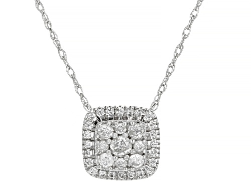 Photo of 0.20ctw Round White Diamond 10k White Gold Cluster Pendant With 18 Inch Rope Chain
