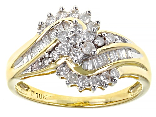 Photo of 0.50ctw Round And Baguette White Diamond 10K Yellow Gold Bypass Cluster Ring - Size 6