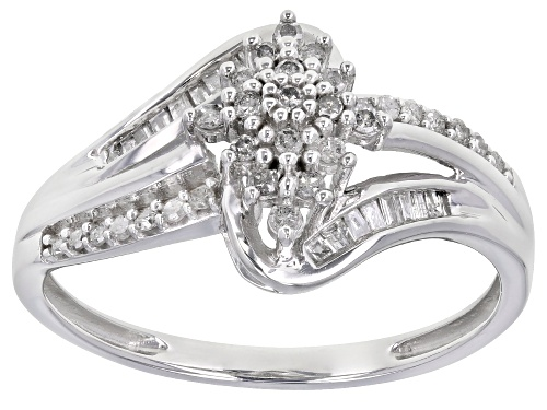 Photo of 0.33ctw Round And Baguette White Diamond 10K White Gold Bypass Ring - Size 10