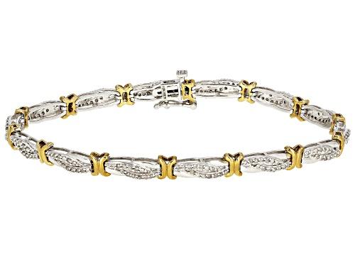 Photo of 1.00ctw Round White Diamond 10K Two-Tone Gold Tennis Bracelet - Size 7.5