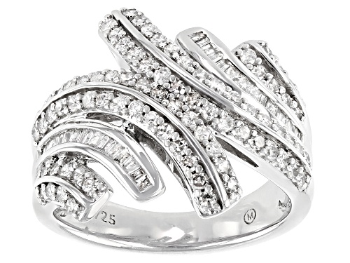 1.00ctw Round And Baguette White Diamond Rhodium Over Sterling Silver Bypass Ring - Size 7