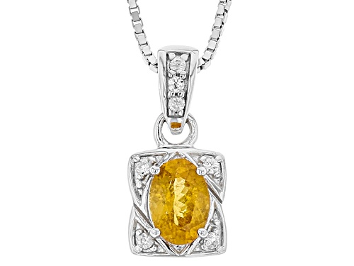 Photo of .66ct Oval Mandarin Garnet With .05ctw Round White Zircon Sterling Silver Pendant With Chain