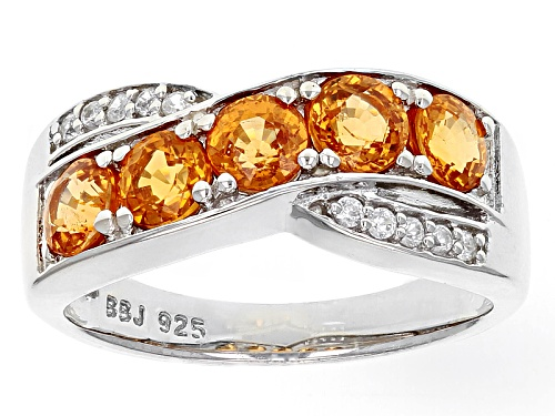 Photo of 1.35ctw Round Mandarin Garnet With .07ctw White Zircon Sterling Silver 5-Stone  Crossover Ring - Size 8