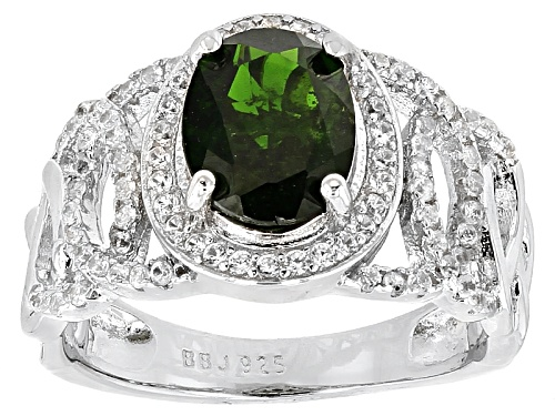 Photo of 1.90ct Oval Russian Chrome Diopside And .48ctw Round White Zircon Sterling Silver Ring - Size 11