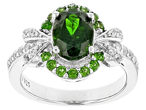 Photo of 2.20ctw Oval,Round Russian Chrome Diopside And .28ctw White Zircon Sterling Silver Ring - Size 8