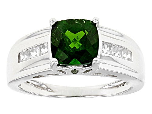 Photo of 1.20ct Square Cushion Russian Chrome Diopside And .40ctw Square White Zircon Sterling Silver Ring - Size 8