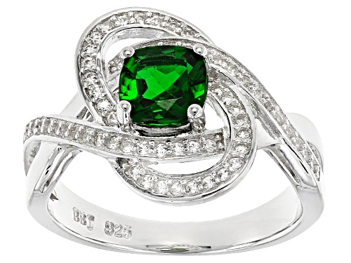 Photo of .85ct Square Cushion Russian Chrome Diopside With .32ctw Round White Zircon Sterling Silver Ring - Size 11