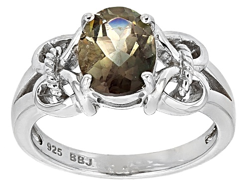 Photo of 1.50ct Oval Labradorite Sterling Silver Solitaire Ring - Size 7