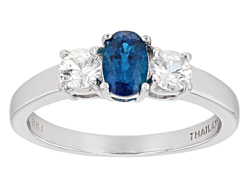 Photo of .39ct Oval Neon Apatite And .69ctw Round White Zircon Sterling Silver 3-Stone Ring - Size 7