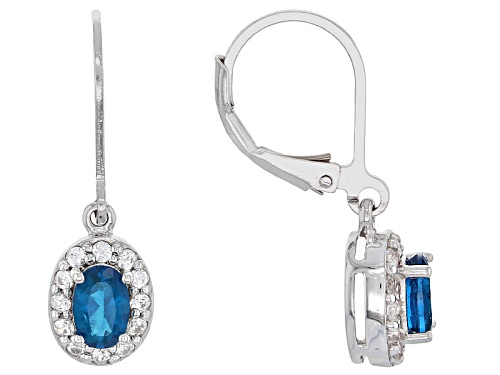 Photo of .78ctw Oval Neon Apatite And .39ctw Round White Topaz Sterling Silver Dangle Earrings