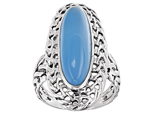Photo of 23x7mm Oval Blue Chalcedony Solitaire Sterling Silver Ring - Size 7