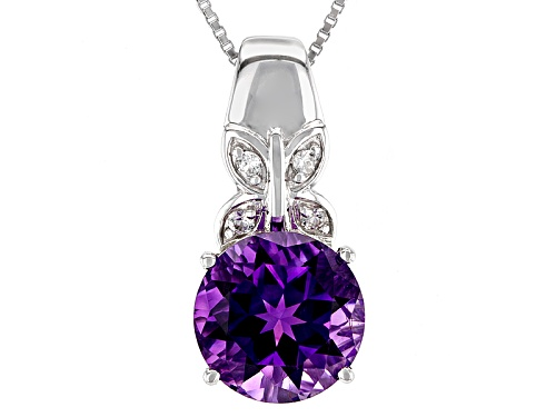 Photo of 3.97ct Round Moroccan Amethyst And .11ctw White Zircon Silver Butterfly Detail Pendant With Chain