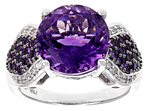 Photo of 3.97ct Moroccan Amethyst, .33ctw African Amethyst And .11ctw White Zircon Sterling Silver Ring - Size 7