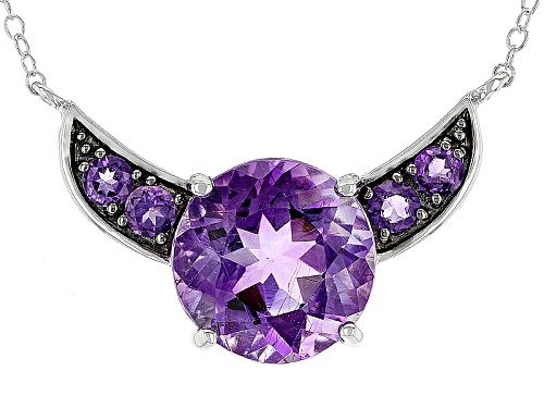 Photo of 4.99ct Round Moroccan Amethyst And .34ctw Round African Amethyst Sterling Silver Necklace - Size 18