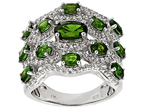 Photo of 2.72ctw Oval Russian Chrome Diopside And 1.02ctw Round White Zircon Sterling Silver Band Ring - Size 5