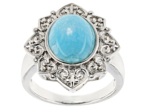Photo of 11x9mm Oval Cabochon Hemimorphite Sterling Silver Solitaire Ring - Size 8