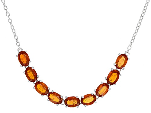 "Photo of 4.60ctw Oval Orange Kyanite Sterling Silver Bolo Necklace, Adjusts To Approximately 28"" - Size 28"