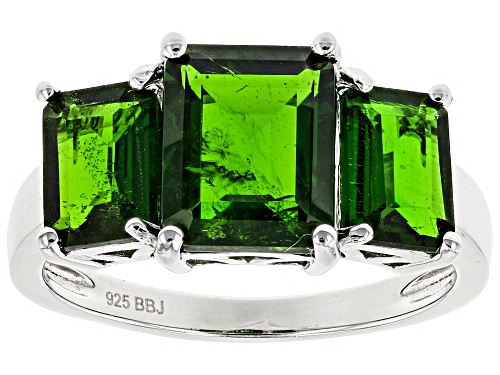 Photo of 4.52ctw Emerald Cut Russian Chrome Diopside Sterling Silver 3-Stone Ring - Size 4