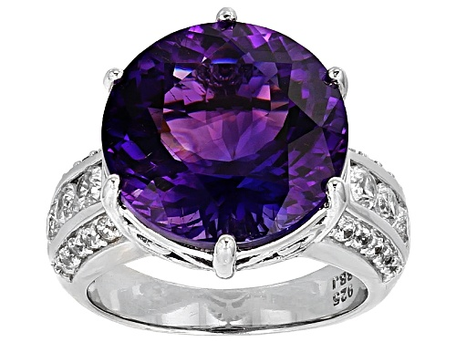 Photo of 9.46ct Round Moroccan Amethyst And 1.20ctw Round White Zircon Sterling Silver Ring - Size 7