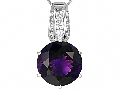 Photo of 9.46ct Round Moroccan Amethyst And .60ctw Round White Zircon Silver Pendant With Chain