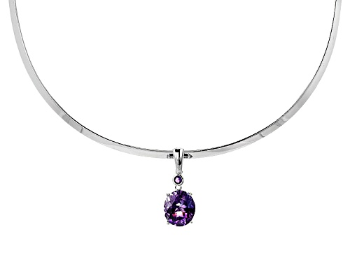 "Photo of 6.14ctw Oval Moroccan And Round African Amethyst Enhancer With Sterling Silver 16"" Collar"