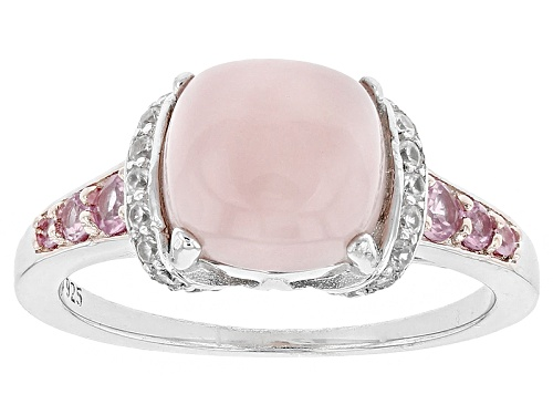 Photo of 8mm Square Cushion Peruvian Pink Opal, .28ctw Pink Sapphire, And .17ctw White Zircon Silver Ring - Size 12