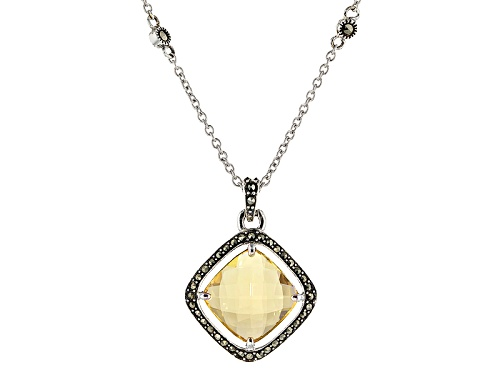Photo of 3.44ct Square Cushion Champagne Quartz And Round Marcasite Sterling Silver Pendant With Chain
