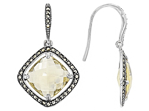 Photo of 6.72ctw Square Cushion Champagne Quartz And Round Marcasite Sterling Silver Dangle Earrings