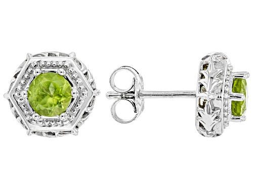 Photo of 1.02ctw Round Manchurian Peridot™ Rhodium Over Sterling Silver Stud Earrings