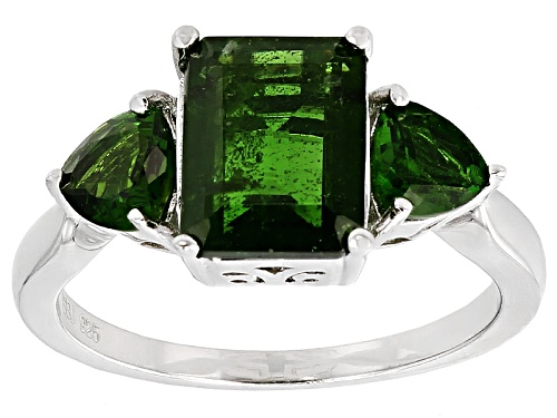 Photo of 3.35ctw Emerald Cut And Trillion Russian Chrome Diopside Sterling Silver 3-Stone Ring - Size 12