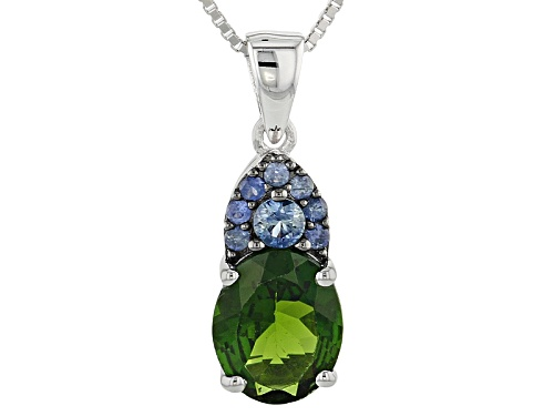 Photo of 2.63ctw Russian Chrome Diopside And Blue Sapphire Sterling Silver Pendant With Chain
