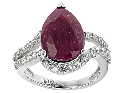 Photo of 5.84ct Pear Shape Indian Ruby And 1.06ctw Round White Zircon Sterling Silver Ring - Size 11
