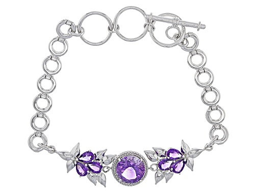 Photo of 3.00ct Round And 1.68ctw Pear Shape Moroccan Amethyst Sterling Silver Bracelet - Size 7.25