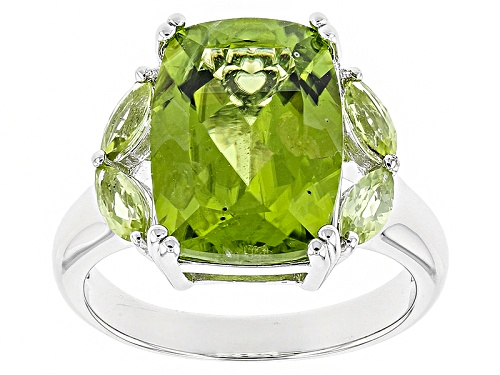 Photo of 6.72ctw Rectangular Cushion And Marquise Manchurian Peridot™ Sterling Silver Ring - Size 7