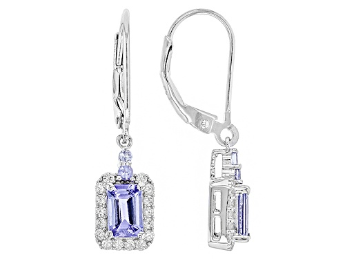 Photo of 1.97ctw Emerald Cut And Round Tanzanite With .39ctw Round Zircon Sterling Silver Earrings