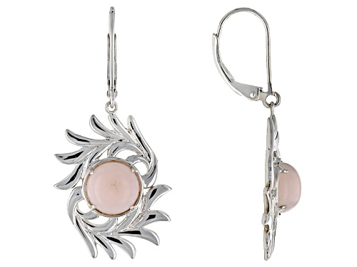Photo of 8mm Cabochon Round Peruvian Pink Opal Sterling Silver Dangle Earrings