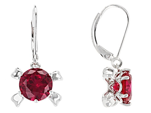 Photo of 3.87ctw Round Lab Created Ruby Solitaire Rhodium Over Sterling Silver Dangle  Earrings