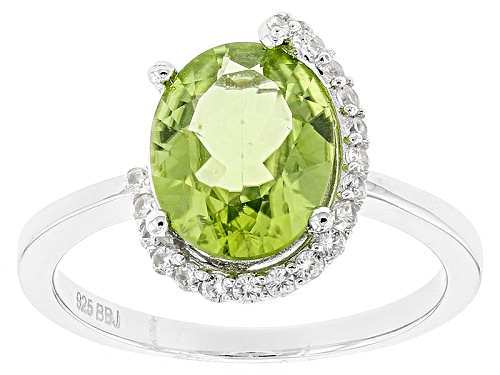 Photo of 2.38ct Oval Manchurian Peridot™ And .14ctw Round White Zircon Sterling Silver Ring - Size 8