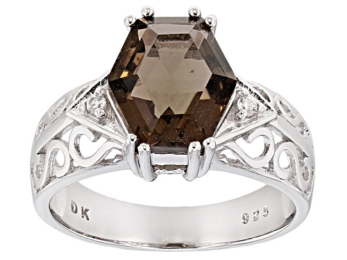 Photo of 2.87ct Hexagonal Smoky Quartz And .03ctw Round White Zircon Rhodium Over Sterling Silver Ring - Size 7