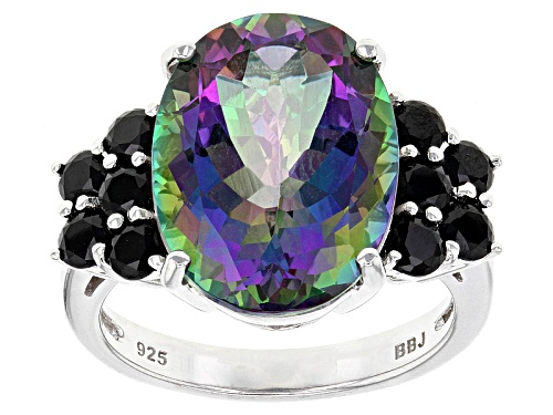 Photo of 9.21ct Oval Green Mystic Topaz® With .99ctw Round Black Spinel Sterling Silver Ring - Size 5