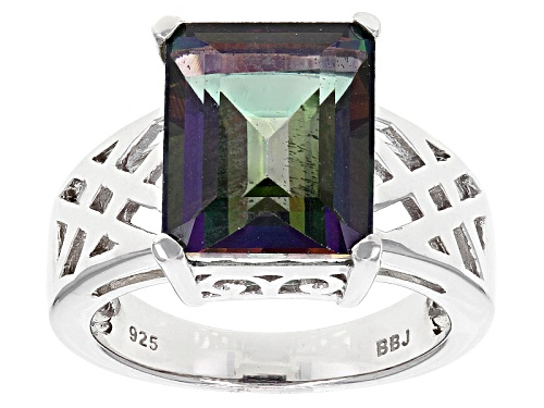 Photo of 6.28ct Emerald Cut Green Mystic Topaz® Sterling Silver Ring - Size 7