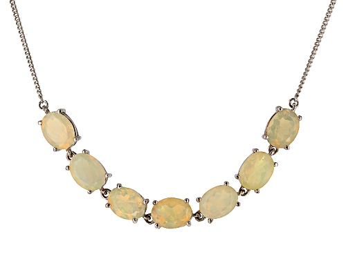 Photo of 3.85ctw Oval Ethiopian Honey Opal Sterling Silver Necklace - Size 18