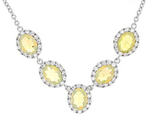 2.75ctw Oval Ethiopian Opal With 1.25ctw Round White Zircon Sterling Silver Necklace - Size 18