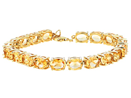 Photo of 20.00ctw Oval Citrine Rhodium Over Sterling Silver Tennis Bracelet - Size 7.25