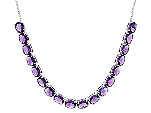 Photo of 36.97ctw Oval Checkerboard Cut African Amethyst Sterling Silver Necklace - Size 18