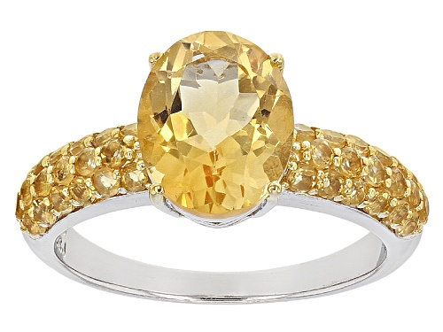 Photo of 2.90ctw Oval And Round Brazilian Citrine Sterling Silver Ring - Size 12