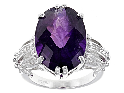 Photo of 10.20ct Oval Checkerboard Cut African Amethyst With .06ctw Round White Zircon Sterling Silver Ring - Size 5