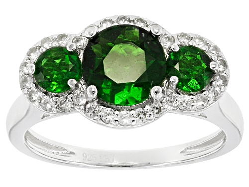 Photo of 1.92ctw Round Russian Chrome Diopside With .38ctw Round White Zircon Sterling Silver 3-Stone Ring - Size 12